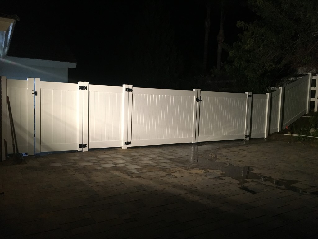 Vinyl Fence with black hardware