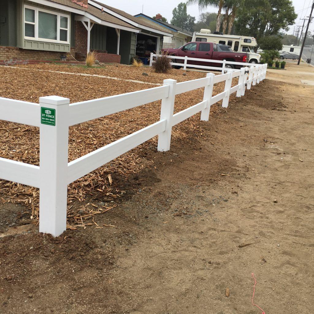 Two Rail White Vinyl Fence