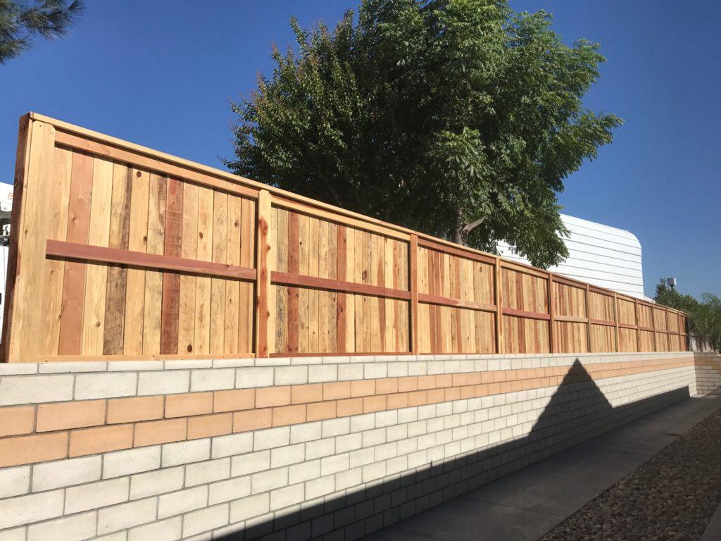 Redwood fence installed in Murrieta Ca.