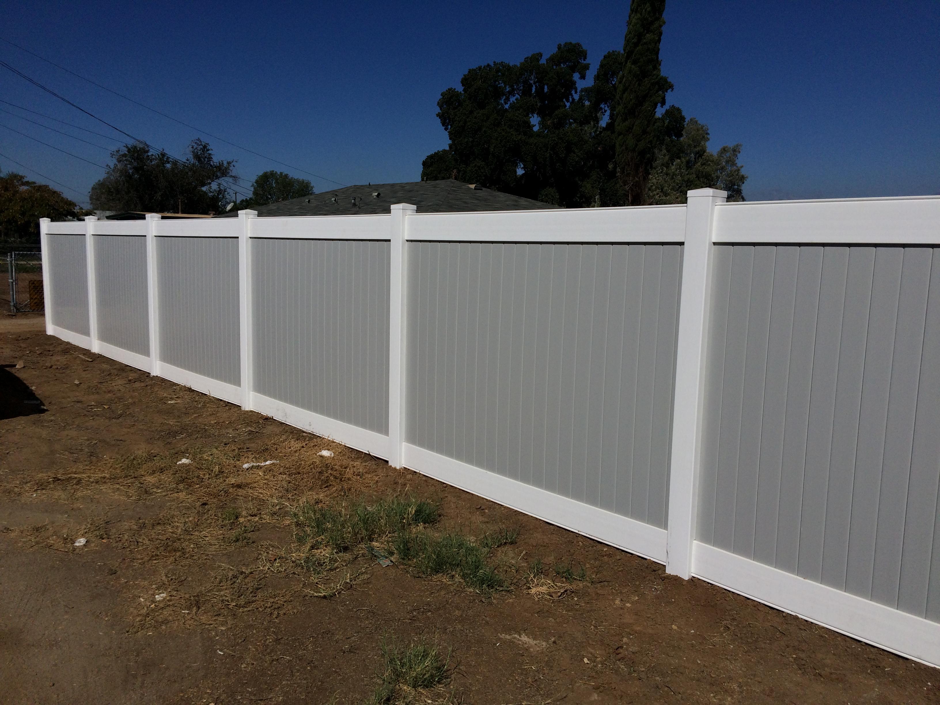 Grey Vinyl fence Corona Ca.